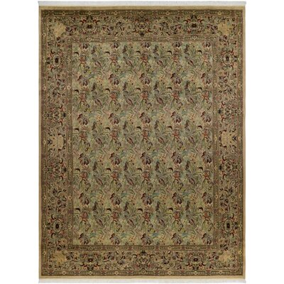 One-of-a-Kind Delron Fern Hand-Knotted Wool Tan/Red Area Rug
