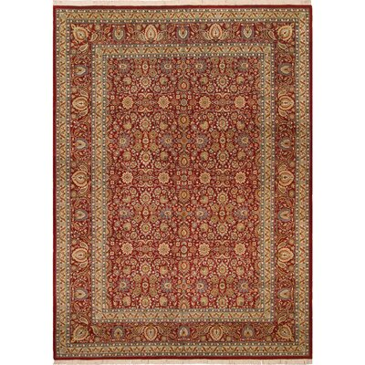 One-of-a-Kind Delron Hand-Knotted Wool Red/Teal Area Rug