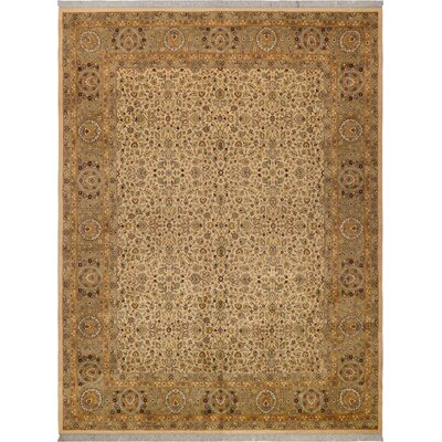 One-of-a-Kind Delron Hand-Knotted Wool Ivory/Green Area Rug