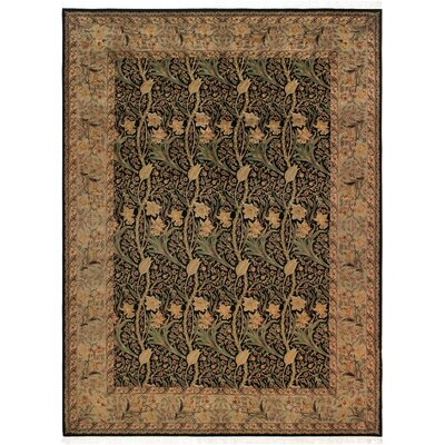 One-of-a-Kind Delron Dafodils Hand-Knotted Wool Black/Gray Area Rug