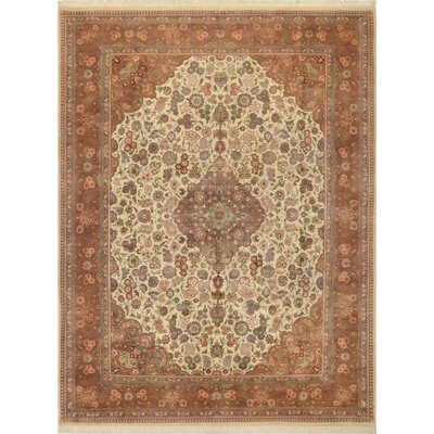 One-of-a-Kind Delron Kashan Hand-Knotted Wool Ivory/Brown Area Rug