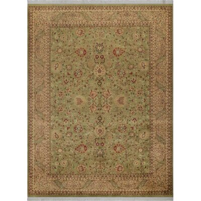 One-of-a-Kind Delron Hand-Knotted Wool Light Green/Tan Area Rug