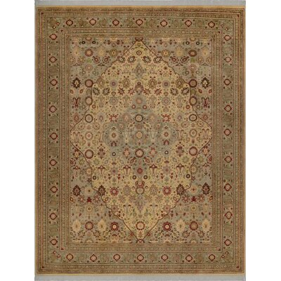One-of-a-Kind Delron Tabriz Carmel Hand-Knotted Wool Light Gold/Light Green Area Rug