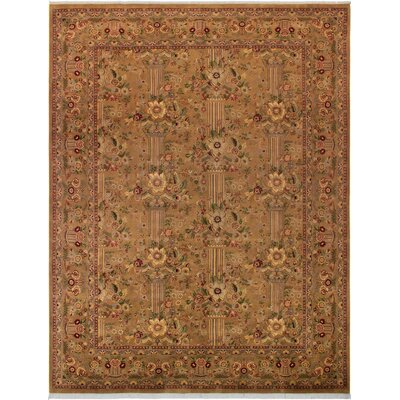 One-of-a-Kind Delron Hand-Knotted Wool Tan/Aubergine Area Rug