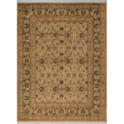 One-of-a-Kind Delron Hand-Knotted Wool Tan/Light Green Area Rug