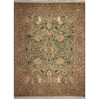 One-of-a-Kind Mcdavid Hand-Knotted Wool Light Green/Pink Area Rug
