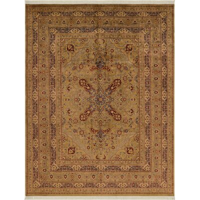 One-of-a-Kind Delron Hand-Knotted Wool Tan/Gold Area Rug