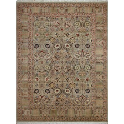 One-of-a-Kind Delron Hand-Knotted Wool Light Gray/Aubergine Area Rug