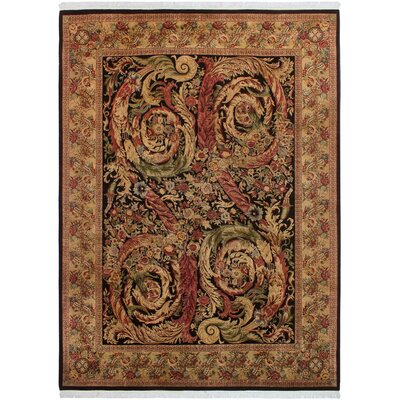 One-of-a-Kind Delron Hand-Knotted Wool Black/Tan Area Rug