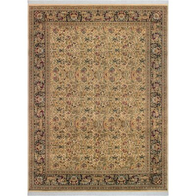One-of-a-Kind Delron Hand-Knotted Wool Ivory/Black Area Rug