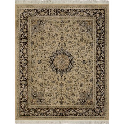 One-of-a-Kind Delron Isfhan Hand-Knotted Wool Ivory/Black Area Rug