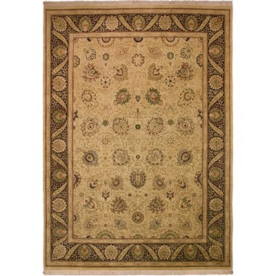 One-of-a-Kind Delron Hand-Knotted Wool Tan/Black Area Rug