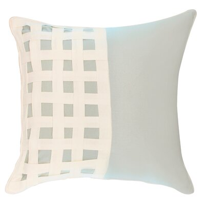 Dariell Basketweave Cotton Throw Pillow Color: Spa Blue/White
