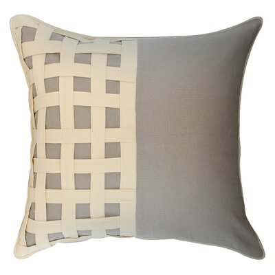 Dariell Basketweave Cotton Throw Pillow Color: Natural/Ivory