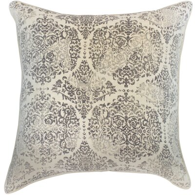 Wendel Damask Textured Cotton Throw Pillow Color: Gray