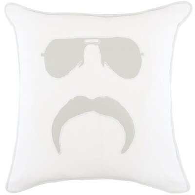 Gerken Mr Mustache Appliqued Cotton Throw Pillow