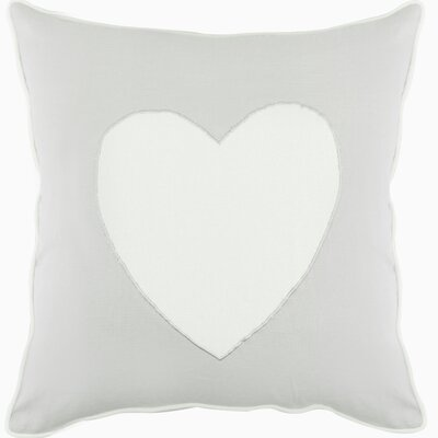 Heagy Heart Appliqued Cotton Throw Pillow Color: Mist Gray/White