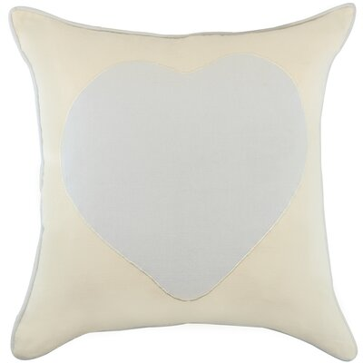 Heagy Heart Appliqued Cotton Throw Pillow Color: Ivory/Spa Blue