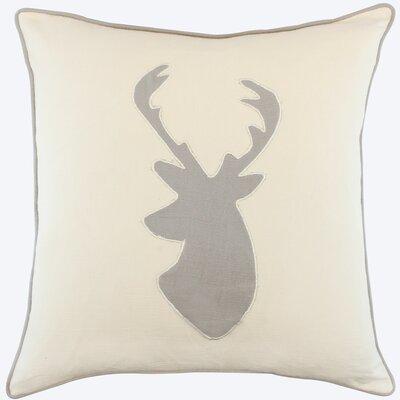 Wallingford Deer Appliqued Cotton Throw Pillow