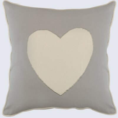 Heagy Heart Appliqued Cotton Throw Pillow Color: Natural/Ivory