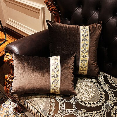 Cleveland Luxury Luster Rose Velvet Pillow Cover Color: Brown