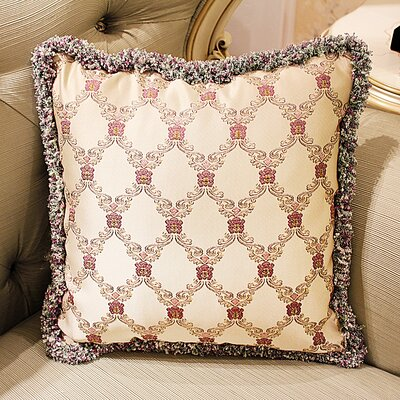 Donato European Embroidery Plush Edge Pillow Cover