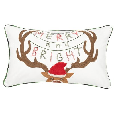 Fetters Merry and Bright Deer Crewel Embroidered Cotton Lumbar Pillow