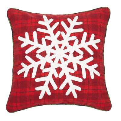Ferro Snowflake Plaid Chenille Embroidered Cotton Throw Pillow