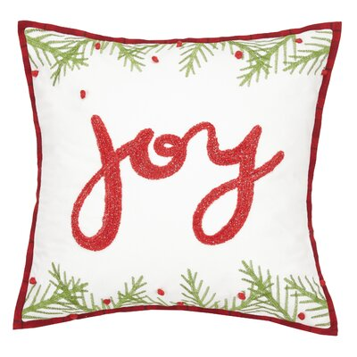 Ferris Christmas Joy Chenille Embroidered Cotton Throw Pillow