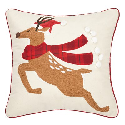Ferris Christmas Deer Crewel Embroidered Cotton Throw Pillow