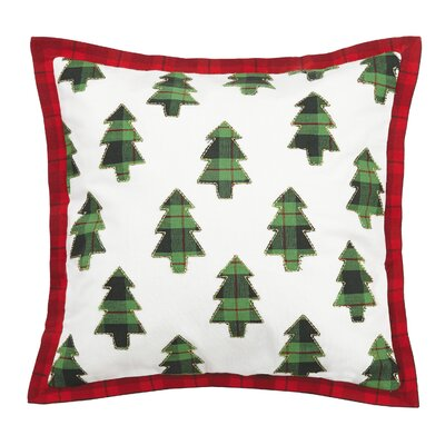 Fessler Holiday Trees Plaid Chenille Embroidered Cotton Throw Pillow