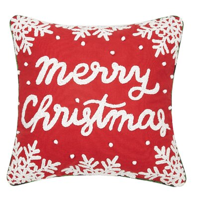 Ferrin Merry Christmas Chenille Embroidered Cotton Throw Pillow