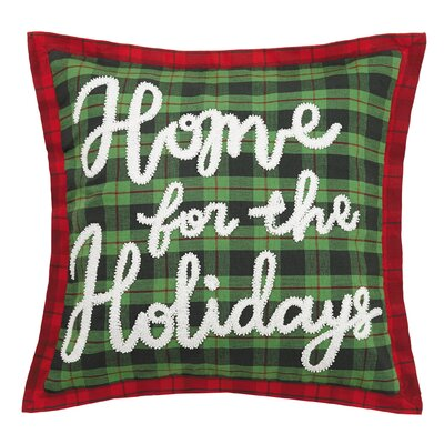 Fetter Home for the Holidays Chenille Embroidered Cotton Throw Pillow