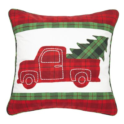 Fessler Holiday Truck Applique Embroidered Cotton Throw Pillow