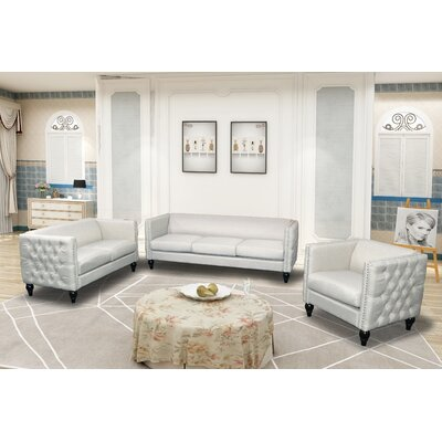 Annuziata 3 Piece Living Room Set Upholstery: Beige