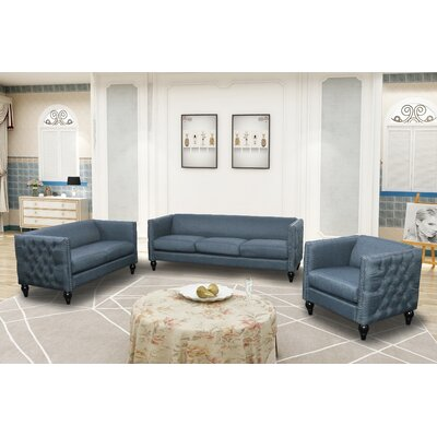 Annuziata 3 Piece Living Room Set Upholstery: Blue