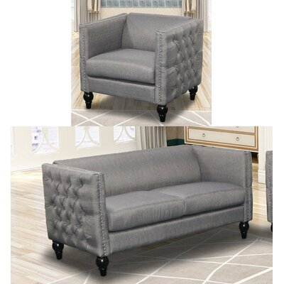 Annuziata 2 Piece Living Room Set Upholstery: Gray