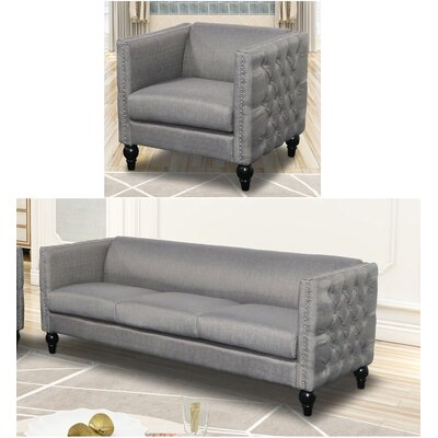Annuziata 2 Piece Living Room Set Upholstery: Gray