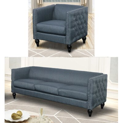 Annuziata 2 Piece Living Room Set Upholstery: Blue