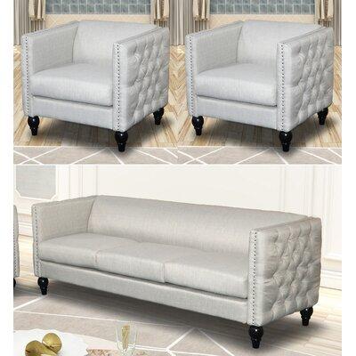 Annuziata 3 Piece Living Room Set Upholstery: Beige