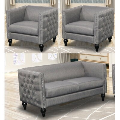 Annuziata 3 Piece Living Room Set Upholstery: Gray