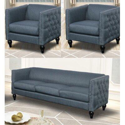 Annuziata 3 Piece Living Room Set Upholstery: Blue