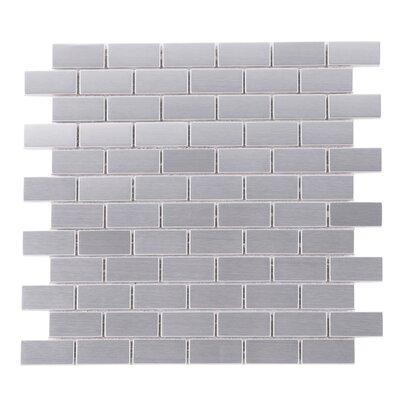 SAMPLE - Iron Man Brick Metal Mosaic Tile in Gray