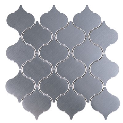 SAMPLE - Arabesque Metal Mosaic Tile in Gray
