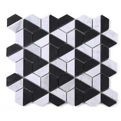 SAMPLE - Marquina Fidget Spinner Marble Mosaic Tile in Black/White
