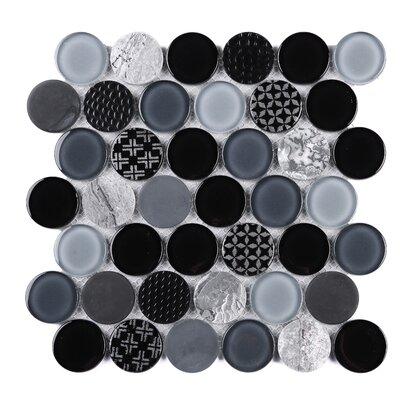 SAMPLE - Circle Marble Mosaic Tile in Black/Gray