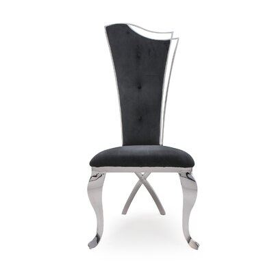 Frampton Cotterell Upholstered Dining Chair (Set of 2) Upholstery Color: Black, Leg Color: Silver