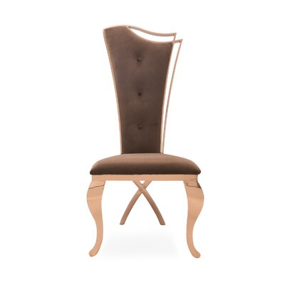 Frampton Cotterell Upholstered Dining Chair (Set of 2) Upholstery Color: Brown, Leg Color: Gold
