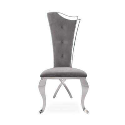 Frampton Cotterell Upholstered Dining Chair (Set of 2) Upholstery Color: Gray, Leg Color: Silver
