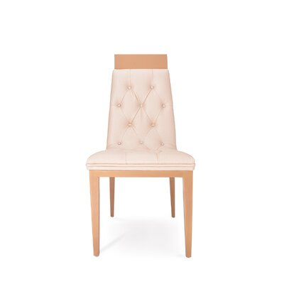 Letcher Upholstered Dining Chair (Set of 2) Upholstery Color: Oyster, Leg Color: Gold